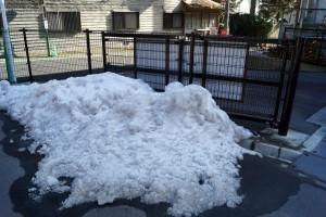 高野町役場駐車場の隅にまとめられた雪