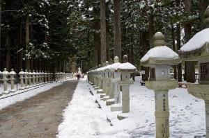 両端に雪、高野山奥之院参道