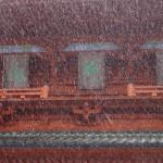 雪が降りしきる高野山(大門)
