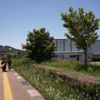 低い石垣のような駅跡